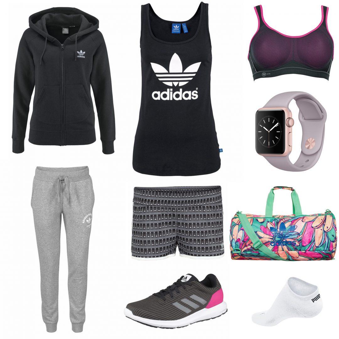 Miss-Classy-sportlich-stylischer-Sportlook-Adidas-Hotpants-Tanktop-Laufschuhe-Apple-Sportwatch