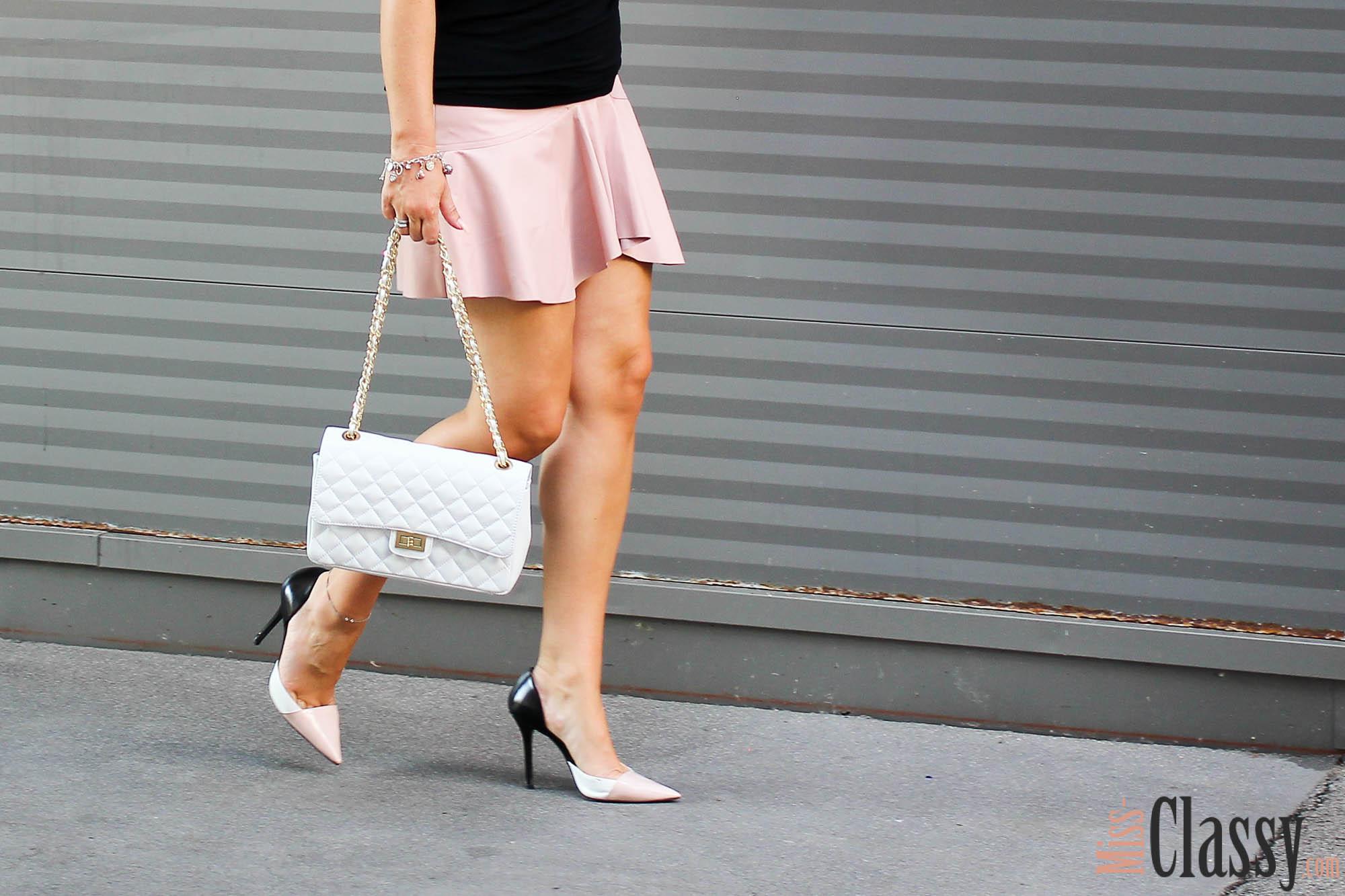 Off-Shoulder Top mit rosa Lederrock - Tellerrock - Leder - Zara