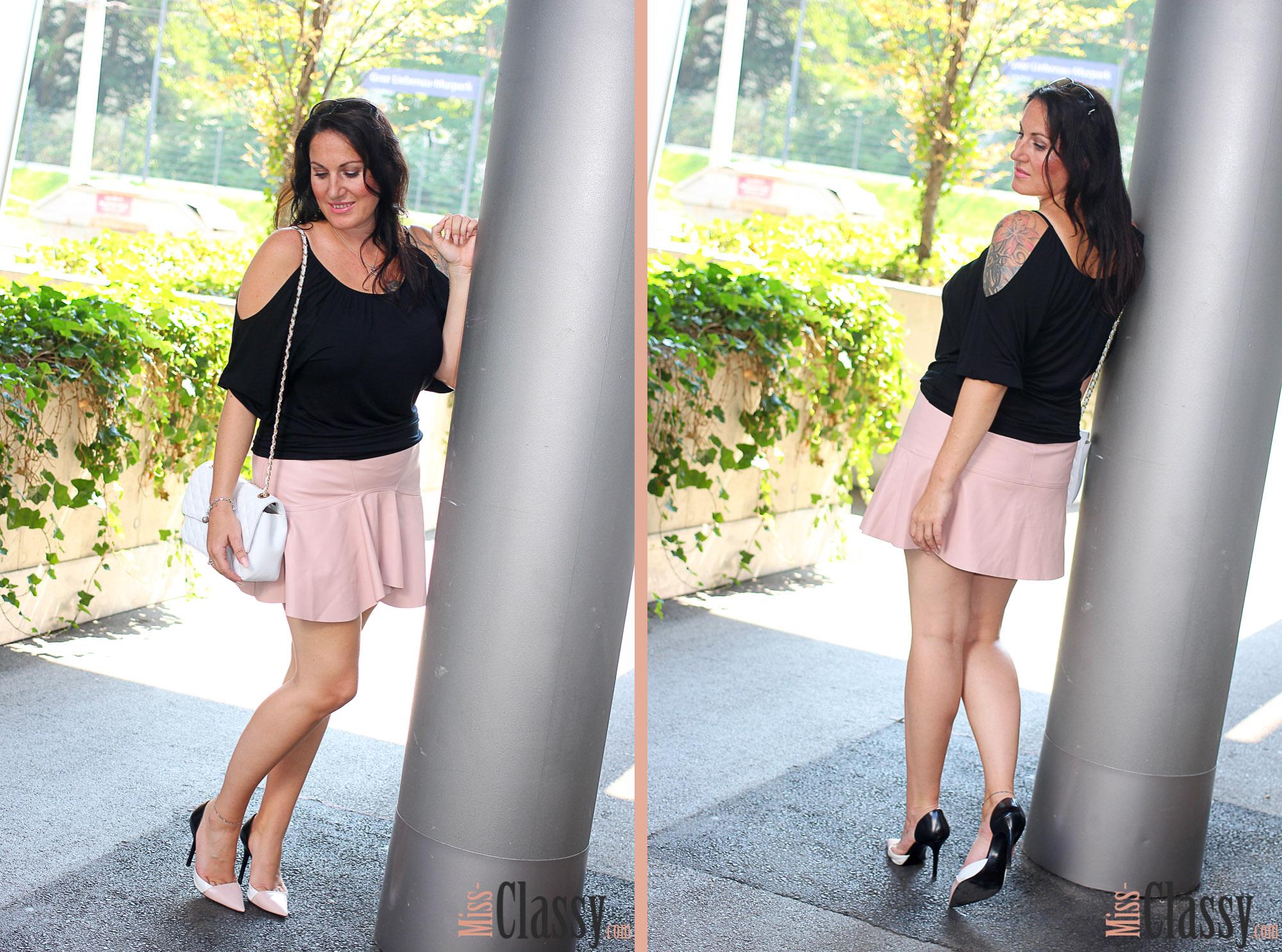 Off-Shoulder Top mit rosa Lederrock - Tellerrock - Leder - Zara_08