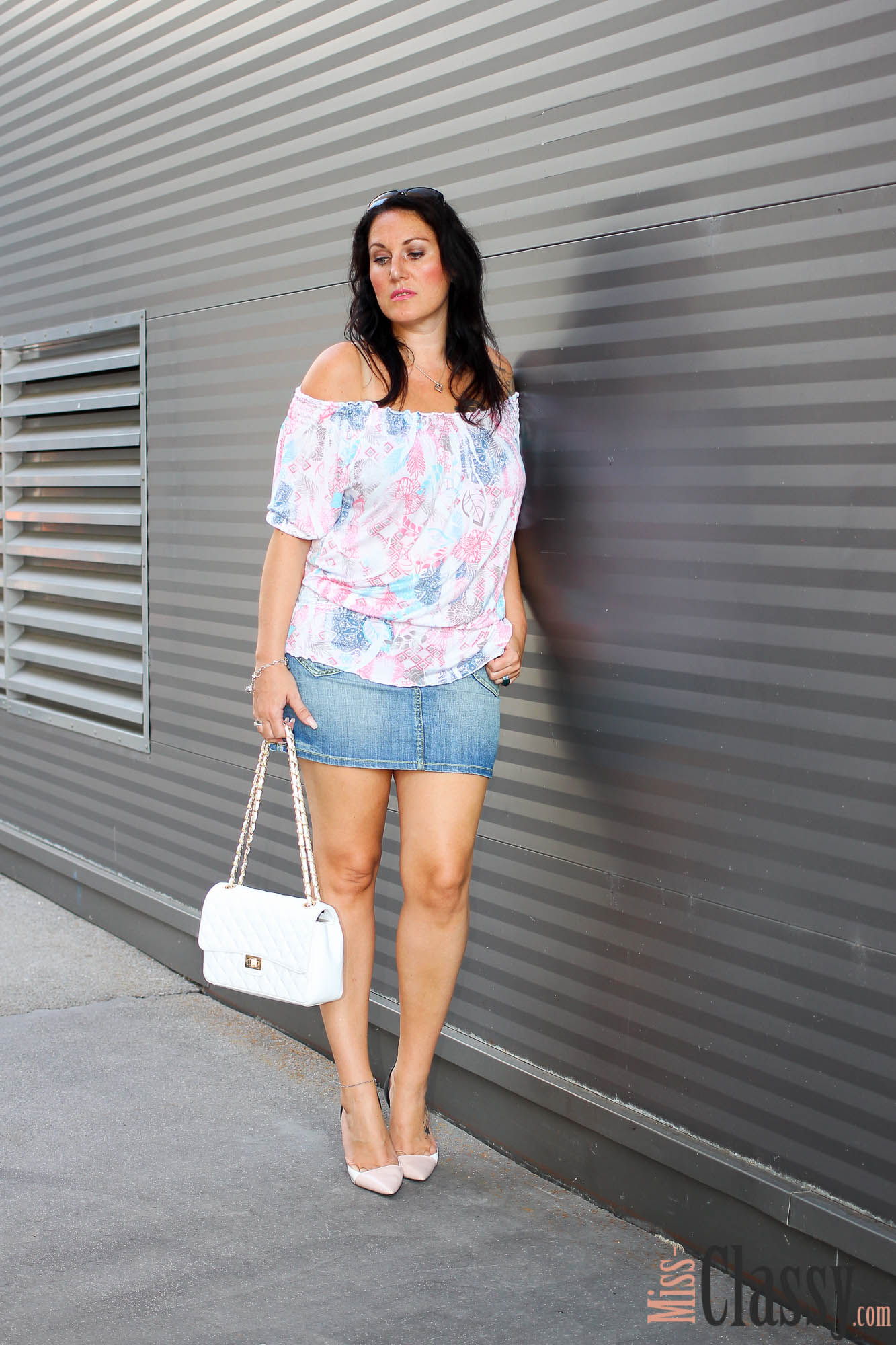 Off-Shoulder Top und Jeansmini - Buffalo - Swarovski