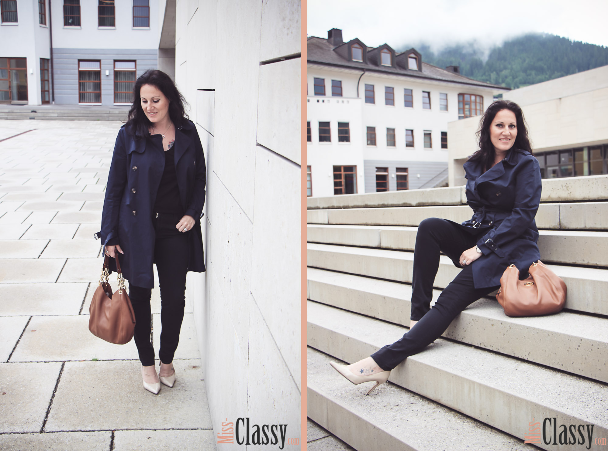OUTFIT - Blauer Trenchcoat - Ferry Porsche Congress Center Zell am See - High Heels - Michael Kors - Esprit - Peter Kaiser