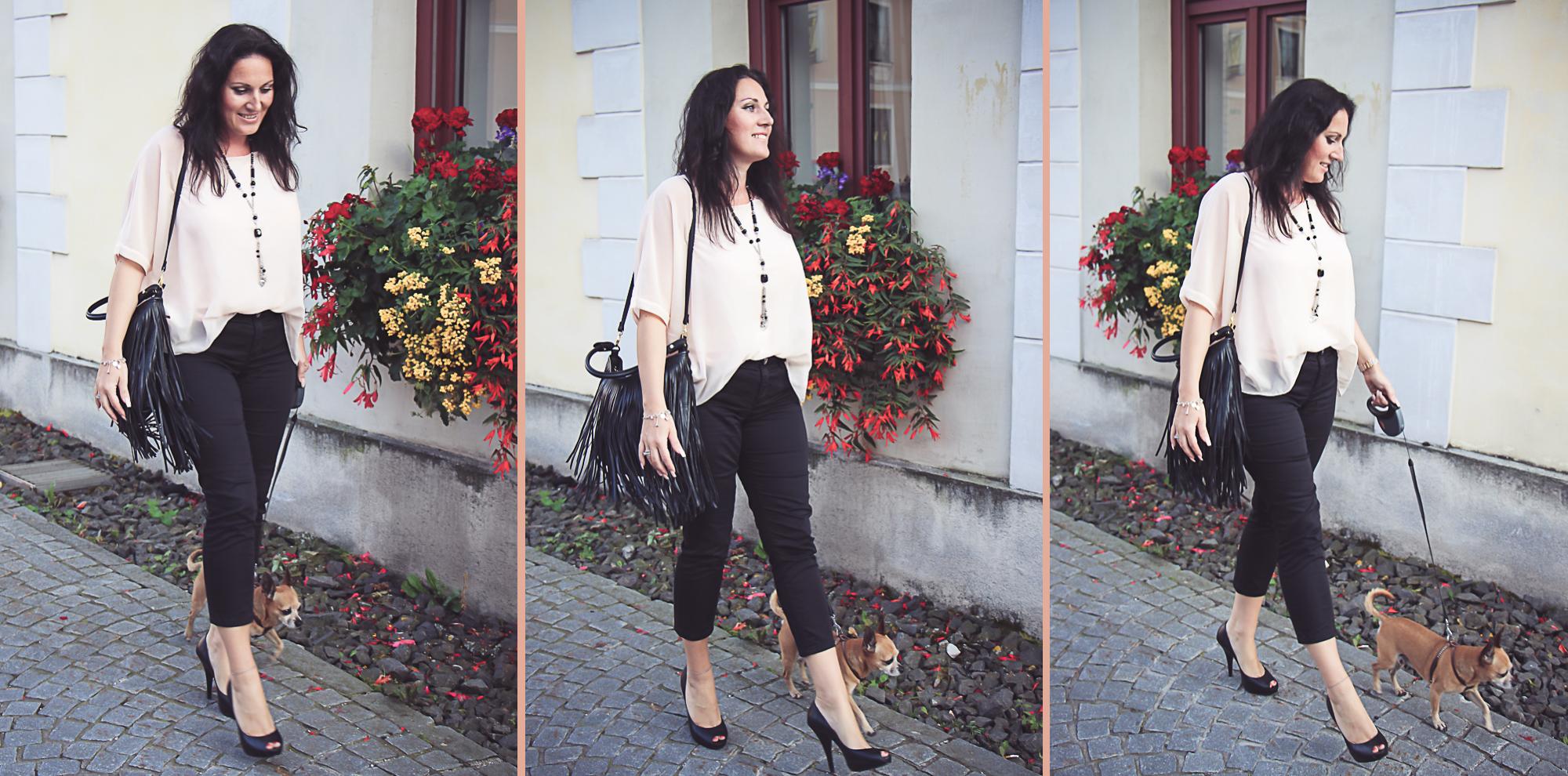 outfit shirt mit fledermaus rmeln schwarzer 7 8 hose peep toes und fransentasche miss classy. Black Bedroom Furniture Sets. Home Design Ideas