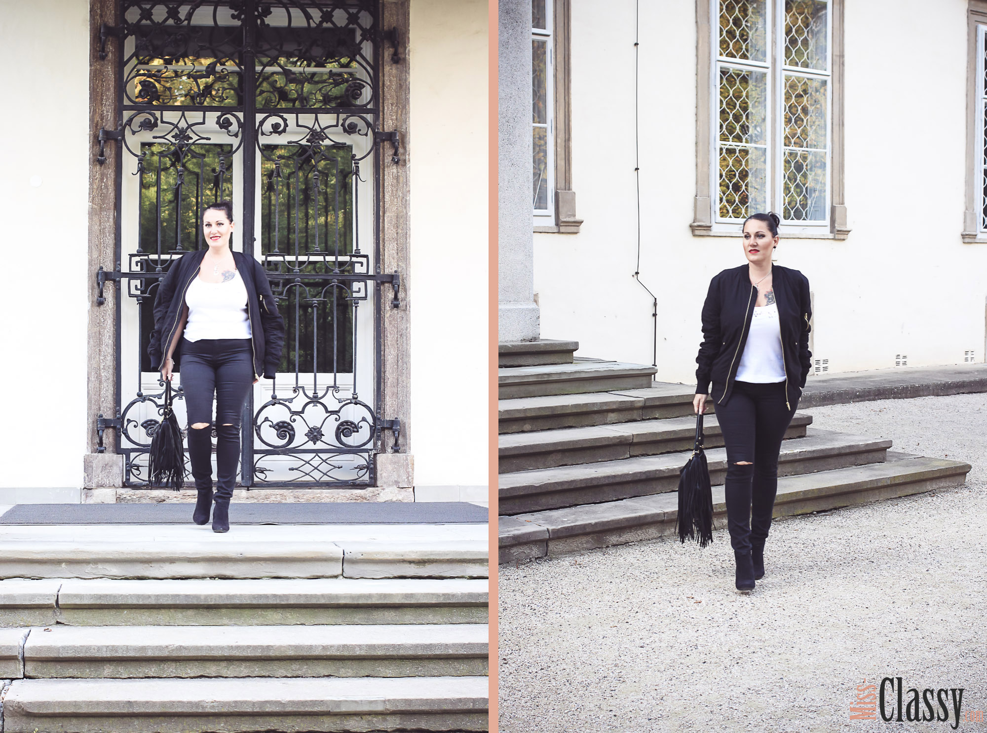 OUTFIT Schwarze Bomberjacke mit ripped Jeans und Fransentasche - Stiefelette - Guess - MAC Lippenstift - Graz - Orangerie im Burggarten