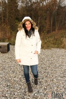 OUTFIT Weisser Parka mit Kapuze, Miss Classy, miss-classy.com, classy. beclassy, Herbst, Graz, Mur, Skinny Jeans, Boysens Parka, Schal, Boots, Stiefel, Marco Polo, MAC, Lippenstift