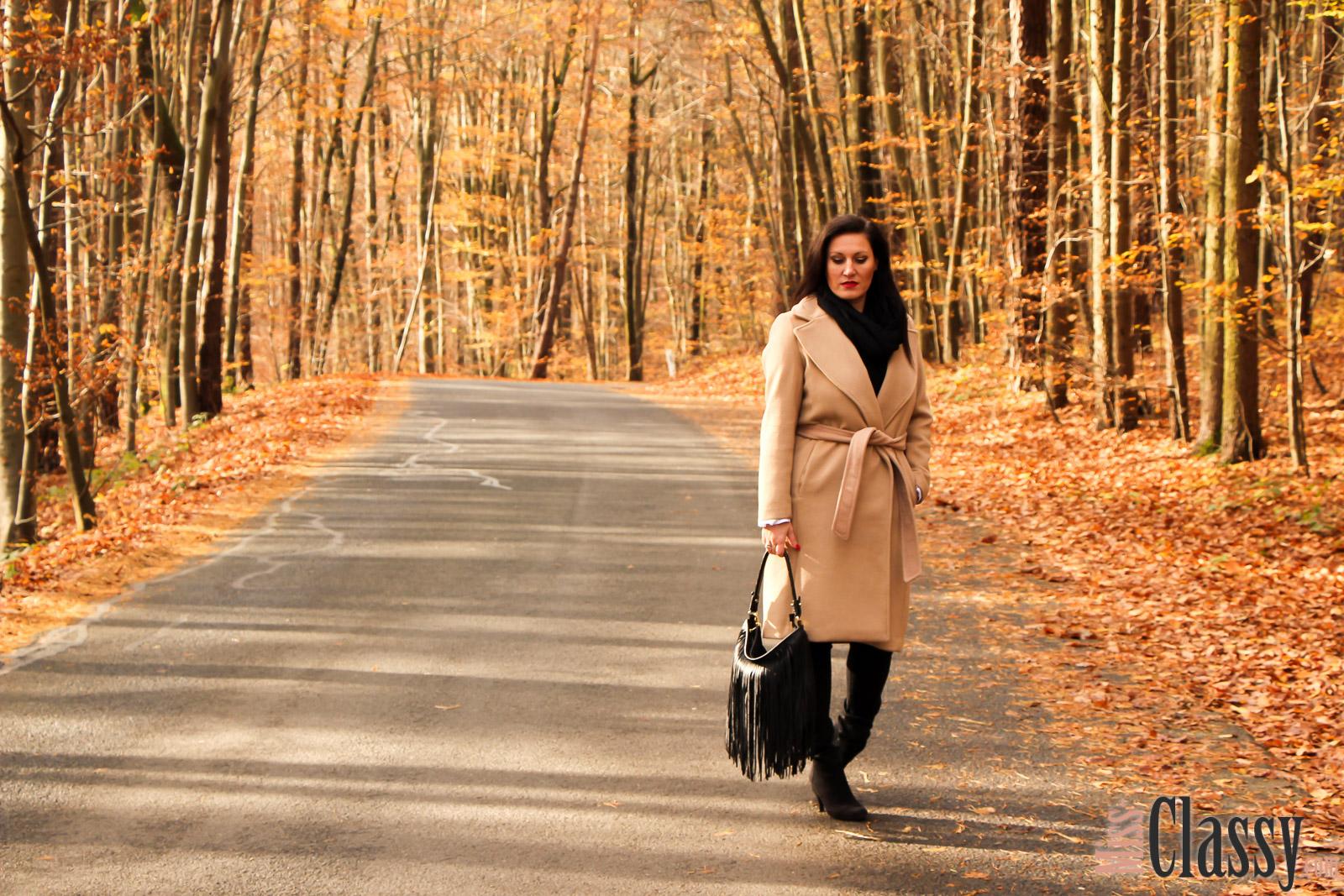 OUTFIT: Wollmantel - Trendiger Camel Coat, Miss Classy, classy, beclassy, Fashionblog, Fashionblogger, Graz, Austria, Bluse, Fransentasche, Schal, Stieletten, Herbst, Herbststimmung, bunte Blätter, Loipersdorf, Steiermark
