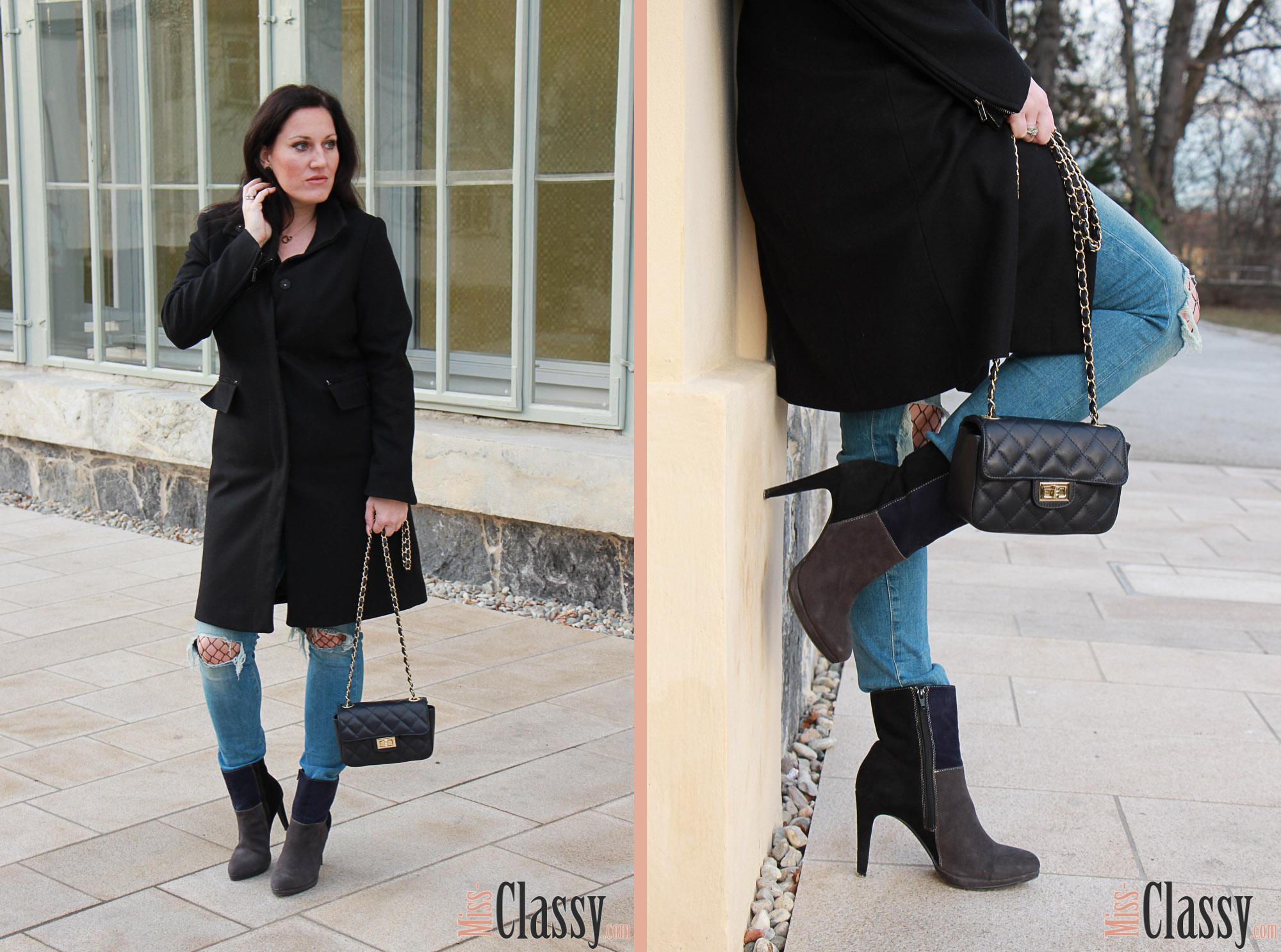 OUTFIT Destroyed Jeans mit Netzstrumpfhose und 3-färbigen Stiefeletten, Miss Classy, miss-classy.com, Fashionblog, Fashionblogger, Fashionblog Graz, Lifestyleblog Graz, Graz, Steiermark, Österreich, classy, beclassy, classy Fashion, Wollmantel Esprit, Destroyed Jeans, Netzstrumpfhose, blaue Handtasche, Stiefeletten, blau-graz-schwarze Stiefeletten, 3-färbige Stiefeletten, Lazzarini, Humanic, Orangerie Graz, Burggarten Graz, Schloßberg, Uhrturm
