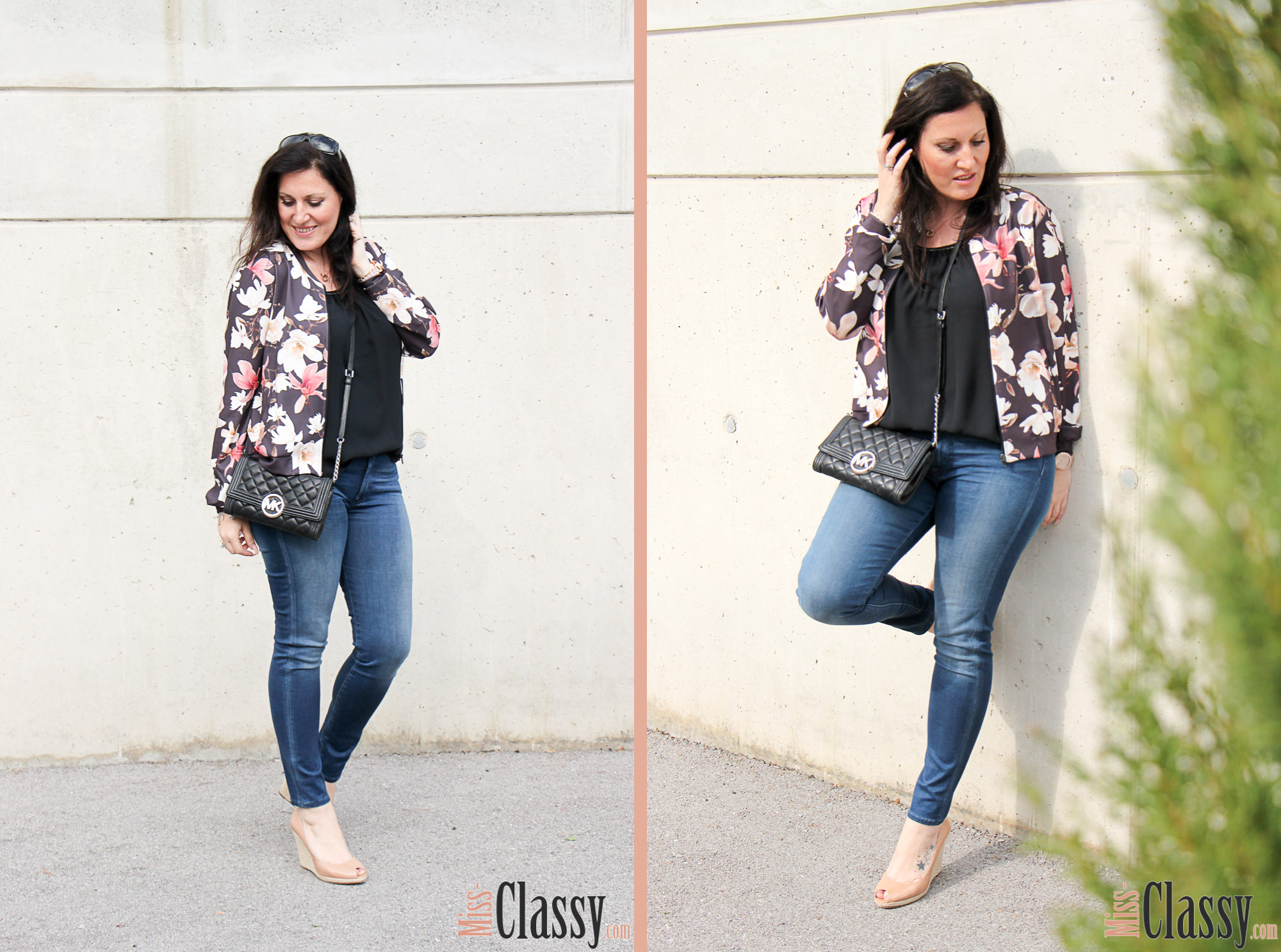 OUTFIT Blumenprint Blouson und Poncho-Bluse von Betty Barcley, Miss Classy, miss-classy.com, Fashionblog, Fashionblogger, Fashionblog Graz, Lifestyleblog Graz, Graz, Steiermark, Österreich, classy, beclassy, classy Fashion, Outfit, Style, Fashion, Mode, OOTD, Betty Barclay, Cartoon, Sonnenbrille Vogue, Clutch, Michael Kors, Wedges, Blumenprint, Jeans 7ForAllManKind