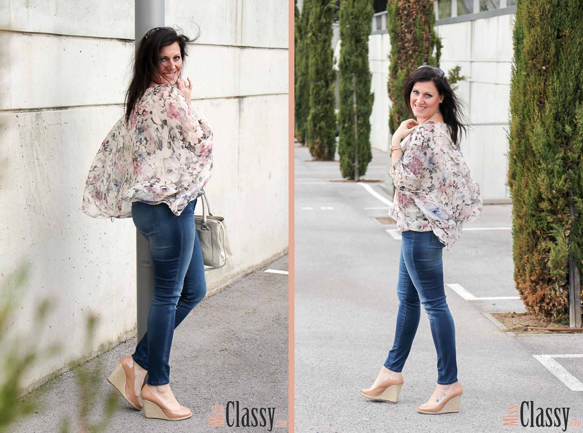 OUTFIT Blumenprint Blouson und Poncho-Bluse von Betty Barcley, Miss Classy, miss-classy.com, Fashionblog, Fashionblogger, Fashionblog Graz, Lifestyleblog Graz, Graz, Steiermark, Österreich, classy, beclassy, classy Fashion, Outfit, Style, Fashion, Mode, OOTD, Betty Barclay, Cartoon, Sonnenbrille Vogue, Handtasche Calvin Klein, Michael Kors, Wedges, Blumenprint