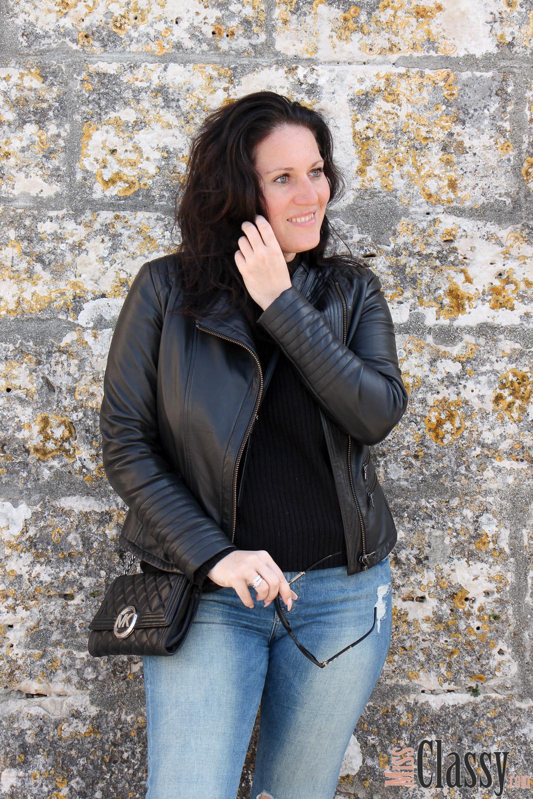 outfit lederjacke und destroyed jeans mit toms in umag. Black Bedroom Furniture Sets. Home Design Ideas