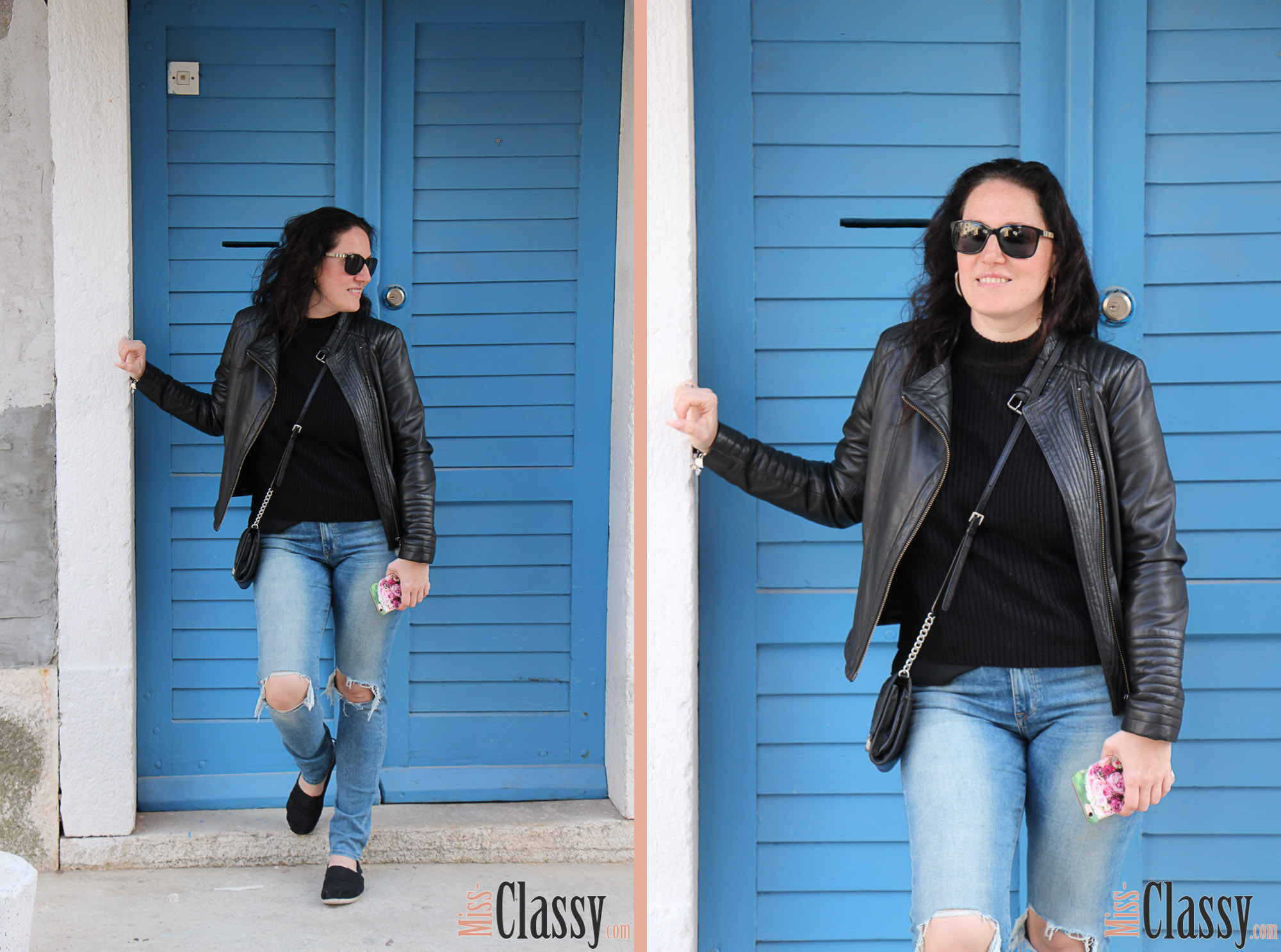 OUTFIT Lederjacke und Destroyed Jeans mit TOMs in Umag, Miss Classy, miss-classy.com, Fashionblog, Fashionblogger, Fashionblog Graz, Lifestyleblog Graz, Graz, Steiermark, Österreich, classy, beclassy, classy Fashion, Outfit, Style, Fashion, Mode, OOTD, Lederjacke, Hallhuber, Sonnenbrille Burberry, Clutch, Michael Kors, Daniel Wellington, TOMs, Espadrilles, Destroyed Jeans, Umag, Meer