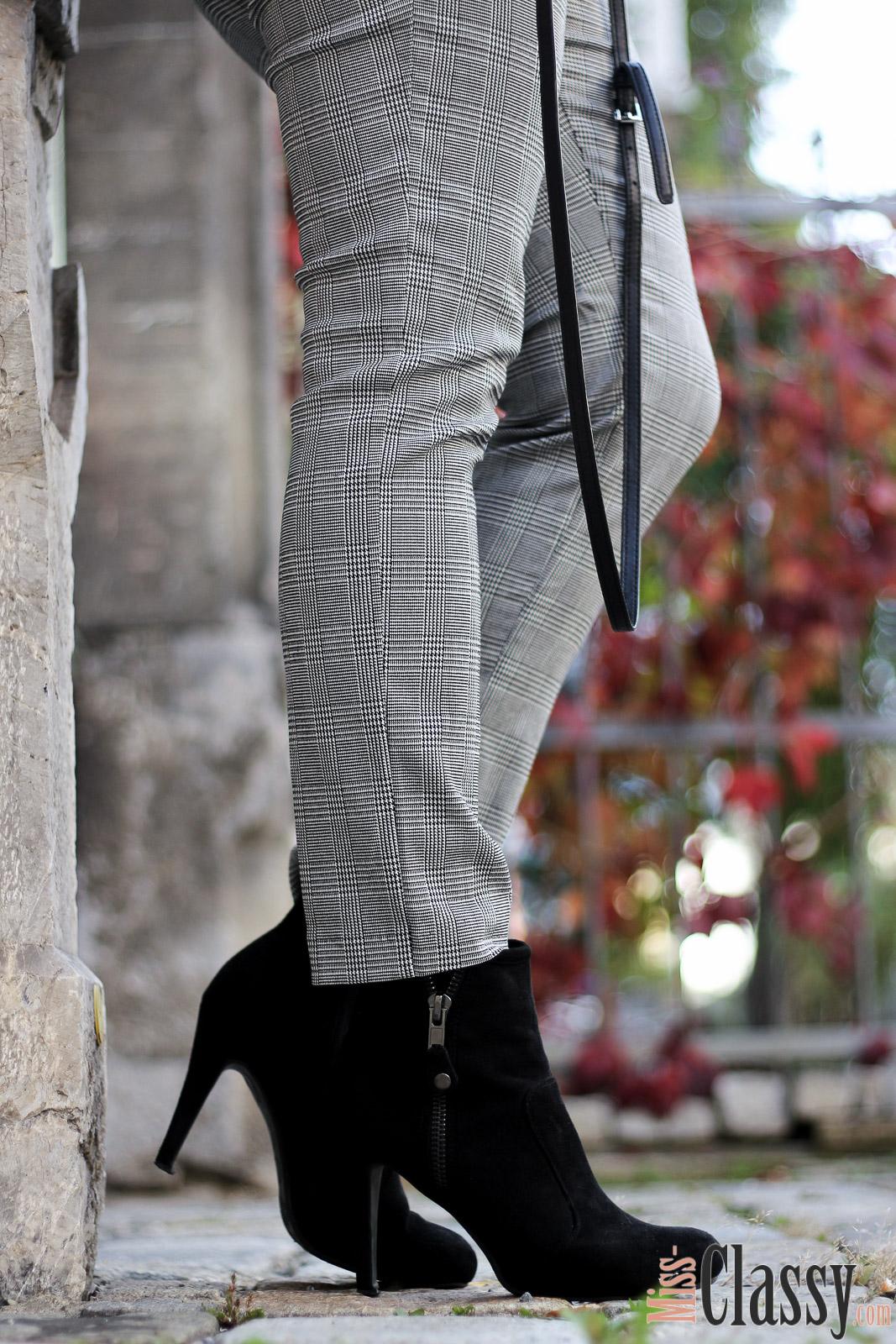 OUTFIT: Der Gingham Trend - Hose mit stylischen Vichy-Karo für 4Stylez4U, Miss Classy, Grazer Fashion Blog, Lifestyle Blog, Bloggerin Graz, classy Fashion, Lederjacke von Hallhuber, Gingham Hose, Hose mit Karomuster, Vichy Karo, H&M, Clutch von Michael Kors, Herbstmode, Sonnenbrille von Vogue, Stiefeletten, Lady Danger Lippenstift von MAC, MAC Cosmetics
