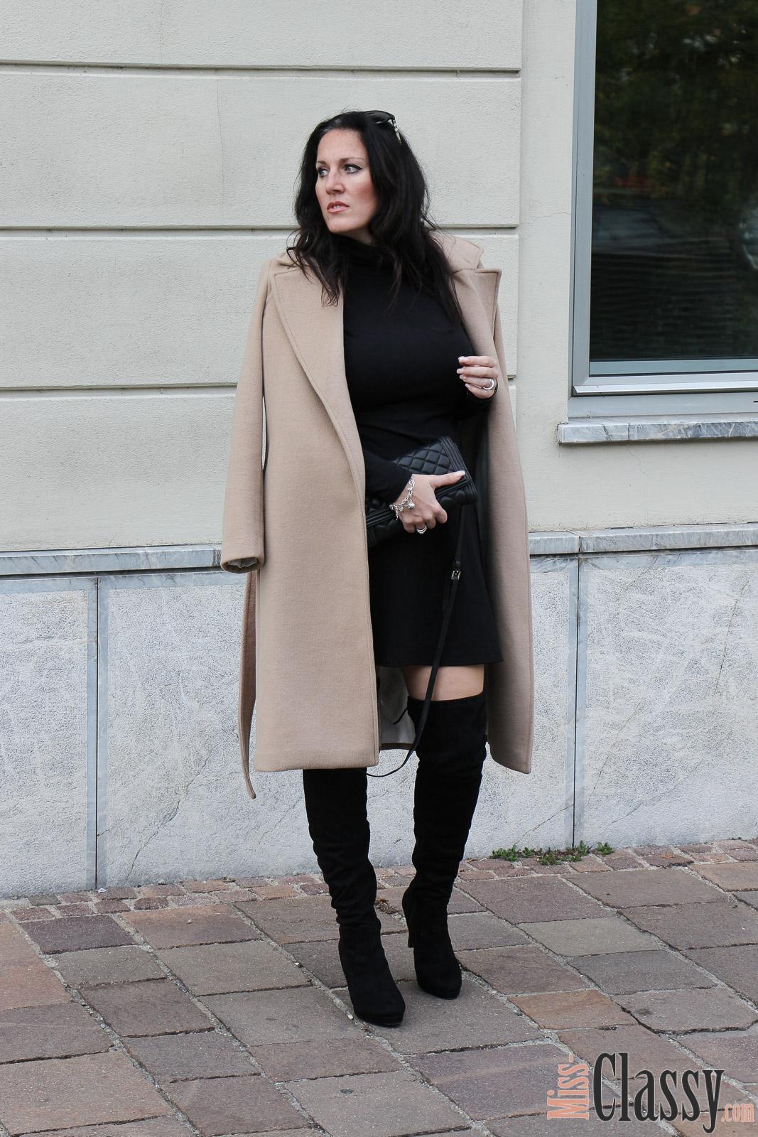 Outfit schwarze overknees la miss classy f r 4stylez4u miss classy - Schwarzer wollmantel ...