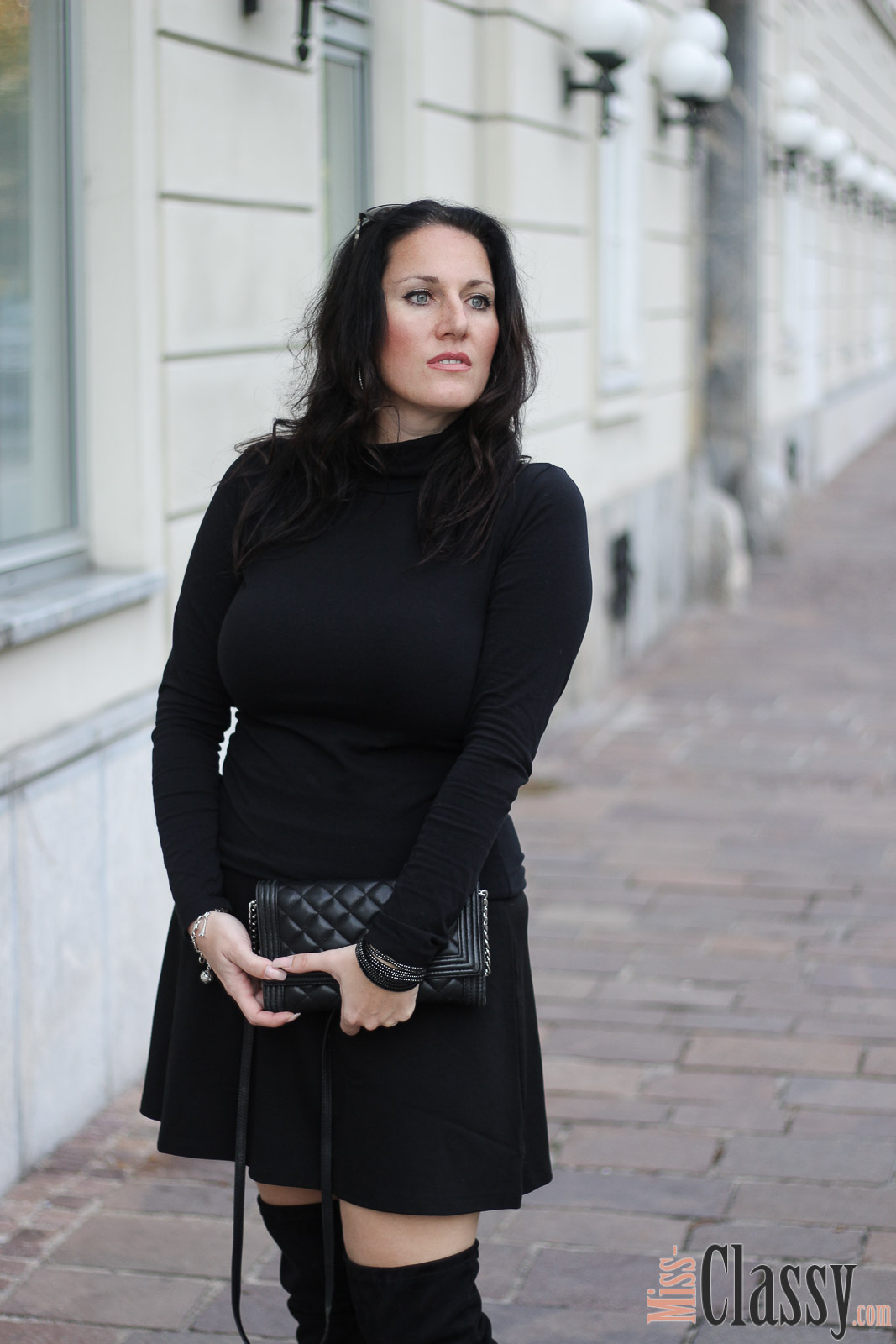 outfit schwarze overknees la miss classy f r 4stylez4u. Black Bedroom Furniture Sets. Home Design Ideas