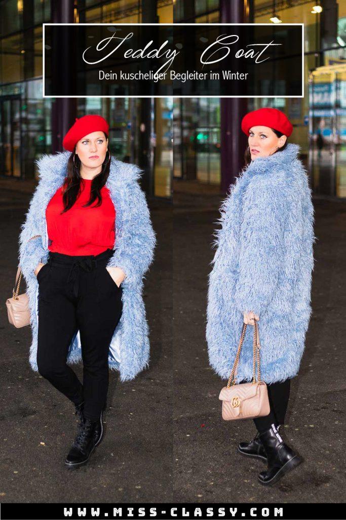Pinterest Pin - Outfit Inspiration - Blauer Teddycoat von NA-KD Fashion, rote Bluse von H&M, schwarze Paperbag-Hose, rote Baskenmütze und Gucci Marmont Handtasche - kuschelige Teddyfell Jacke für den Winter, Teddyfell Jacke, Teddyfell Mantel // Fashion Blogger, Modeblog, Miss Classy, Graz, www.miss-classy.com #teddyfell #teddycoat #gucci #streetstyle #fashionblogger #modetrends #missclassy